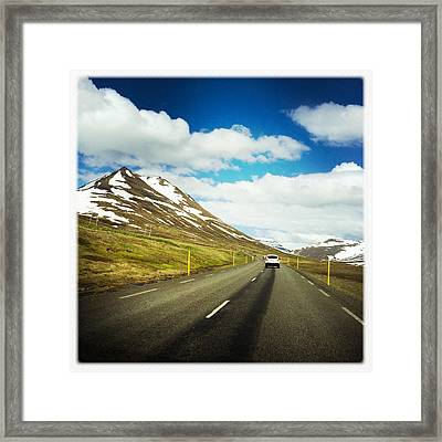 Driving In Iceland - Road And Mountain Landscape Framed Print