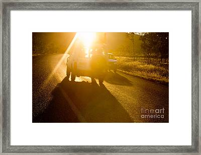 Driving Into The Sun Framed Print by Colin and Linda McKie