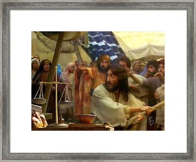 Driving Out The Money Changers Framed Print by Ric Darrell