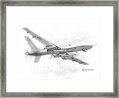 Framed Print featuring the drawing Drone Mq-9 Reaper by Jim Hubbard