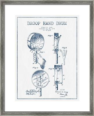 Droop Hand  Drum Patent Drawing From 1892 - Blue Ink Framed Print by Aged Pixel
