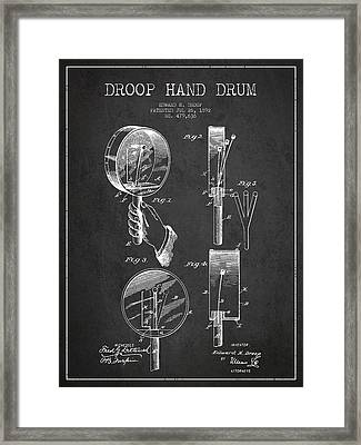 Droop Hand  Drum Patent Drawing From 1892 - Dark Framed Print
