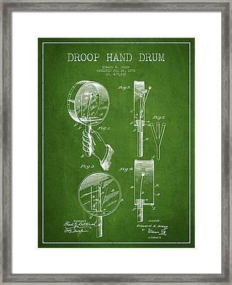Droop Hand  Drum Patent Drawing From 1892 - Green Framed Print