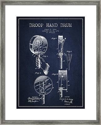 Droop Hand  Drum Patent Drawing From 1892 - Navy Blue Framed Print