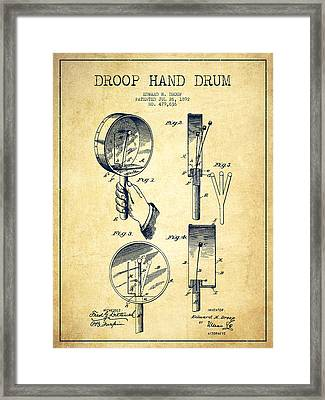 Droop Hand  Drum Patent Drawing From 1892 - Vintage Framed Print