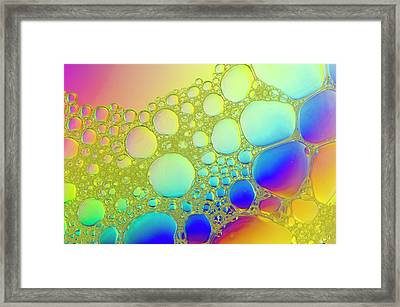 Droplets Of Water In Olive Oil Framed Print by Dr Jeremy Burgess/science Photo Library