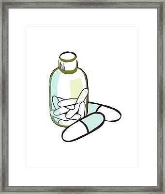 Drug Bottle And Pills Framed Print by Paul Brown