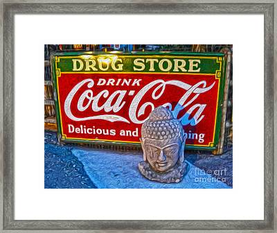 Drug Store Buddha Framed Print by Gregory Dyer