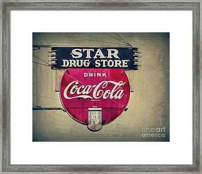 Drug Store Neon Framed Print by Perry Webster
