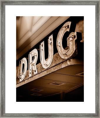 Drug Store Sign - Vintage Downtown Pharmacy Framed Print by Steven Milner