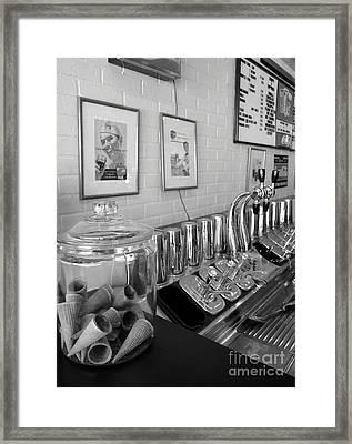 Drug Store Soda Fountain Framed Print by Mel Steinhauer