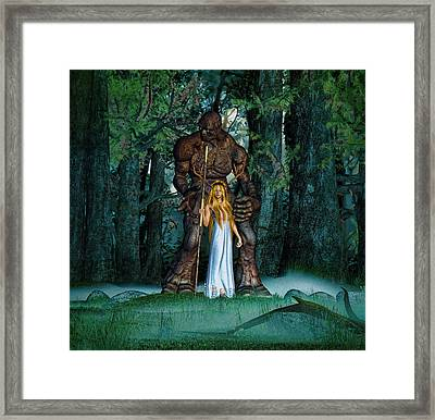 Druidess And Her Clay Golem Framed Print
