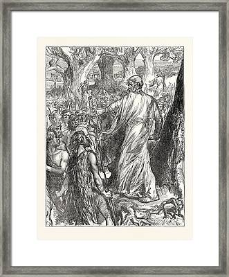 Druids Inciting The Britons To Oppose The Landing Framed Print