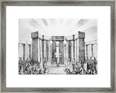 Druids Sacrificing To The Sun Framed Print by Nathaniel Whittock