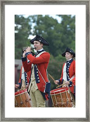 Drum And Bugle Corp In Colonial Williamsbnurg Framed Print by DejaVu Designs