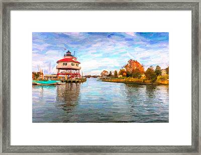 Drum Poiint Lighthouse Oil Abstract Framed Print