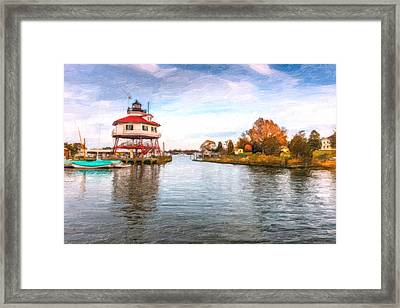 Drum Poiint Lighthouse Oil Painting Framed Print