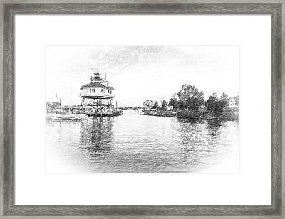 Drum Poiint Lighthouse Pencil Sketch Framed Print