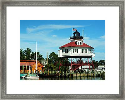 Drum Point Lighthouse Framed Print by Rebecca Sherman