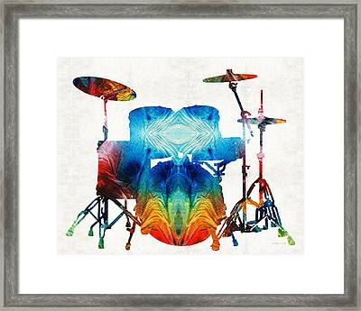 Drum Set Art - Color Fusion Drums - By Sharon Cummings Framed Print by Sharon Cummings