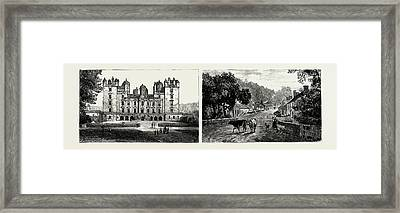 Drumlanrig Castle, North Front Left The Village Framed Print by Scottish School