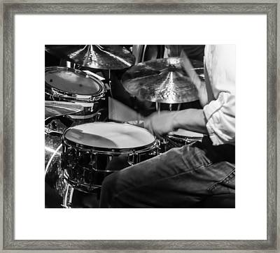 Drummer At Work Framed Print