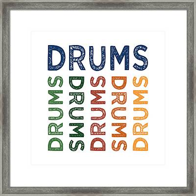 Drums Cute Colorful Framed Print by Flo Karp