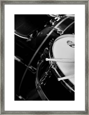 Drums Sticks And Drums Black And White Framed Print by Rebecca Brittain