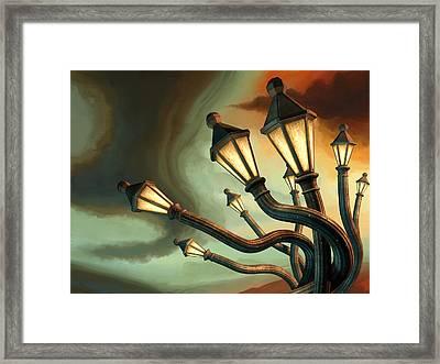 Drunk Streetlamps Framed Print by Remus Brailoiu