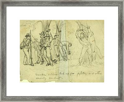 Drunken Soldiers Tied Up For Fighting And Other Unruly Framed Print by Quint Lox