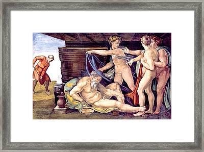 Drunkenness Of Noah Framed Print by Michelangelo Buonarroti