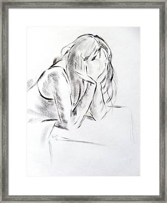 Dry Brush Painting Of A Young Womans Face Framed Print