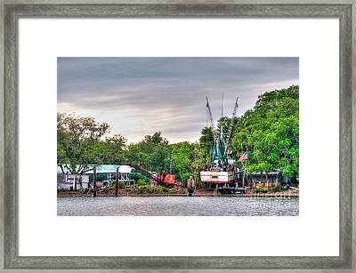 Dry Docked Shrimp Boat Framed Print
