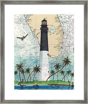 Dry Tortugas Lighthouse Fl Chart Map Art Framed Print