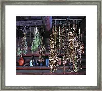 Drying Herbs And Vegetables In Williamsburg Framed Print