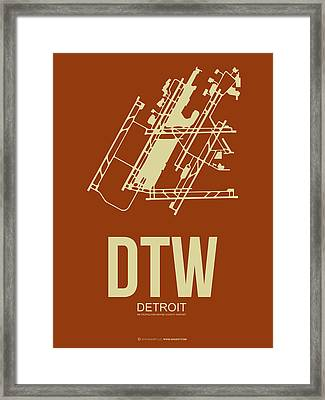 Dtw Detroit Airport Poster 2 Framed Print by Naxart Studio
