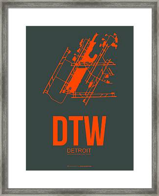 Dtw Detroit Airport Poster 3 Framed Print by Naxart Studio