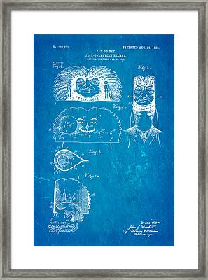 Du Ket Halloween Helmet Patent Art 1903 Blueprint Framed Print by Ian Monk
