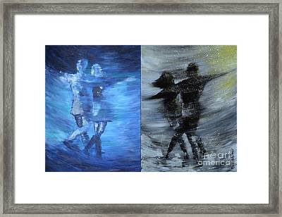 Dual Dancing In The Rain Framed Print by Roni Ruth Palmer