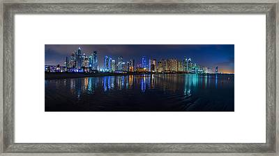 Dubai - Marina Skyline At Night Framed Print by Jean Claude Castor