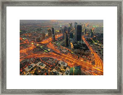Dubai Areal View At Night Framed Print by Lars Ruecker