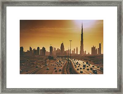 Dubai Cityscape With Skyscrapers And Framed Print by Serts