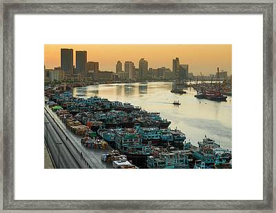 Dubai Creek Framed Print by © Naufal Mq