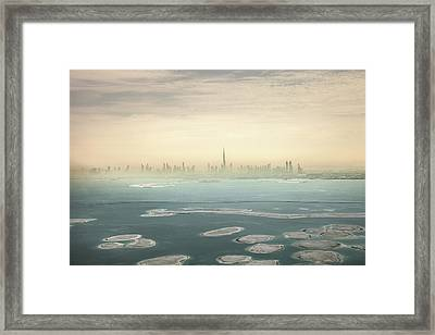 Dubai Downtown Skyscrapers And Office Framed Print by Leopatrizi