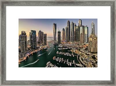 Dubai Marina In The Evening Framed Print by © Naufal Mq