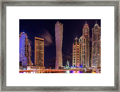 Dubai Marina Night Shot Framed Print by Vinaya Mohan