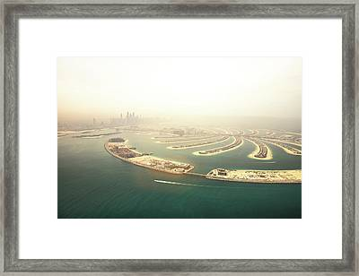 Dubai Marina Skyscrapers And The Palm Framed Print by Leopatrizi