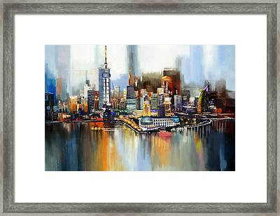 Dubai Skyline  Framed Print by Corporate Art Task Force