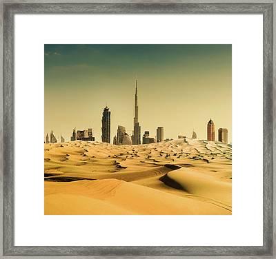 Dubai Skyline From The Desert Framed Print by Franckreporter