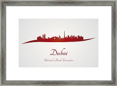 Dubai Skyline In Red Framed Print by Pablo Romero